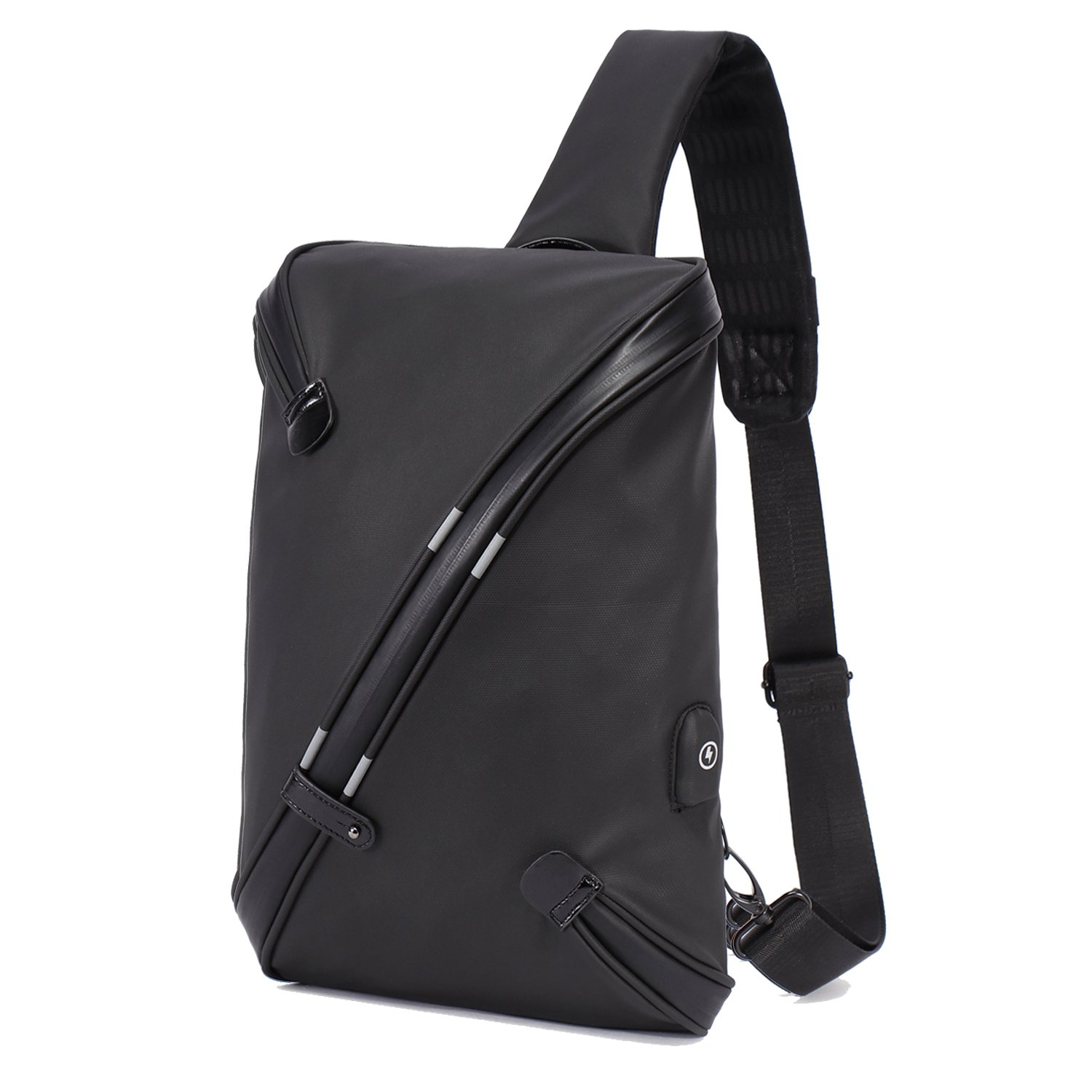 BeckySling Chest Shoulder Backpack,Travel Fashion Crossbody Bag Multipurpose Casual Daypacks for Men&Women,Hiking Triangle Rucksack with USB Charging Port-Black by BECKY (Image #1)