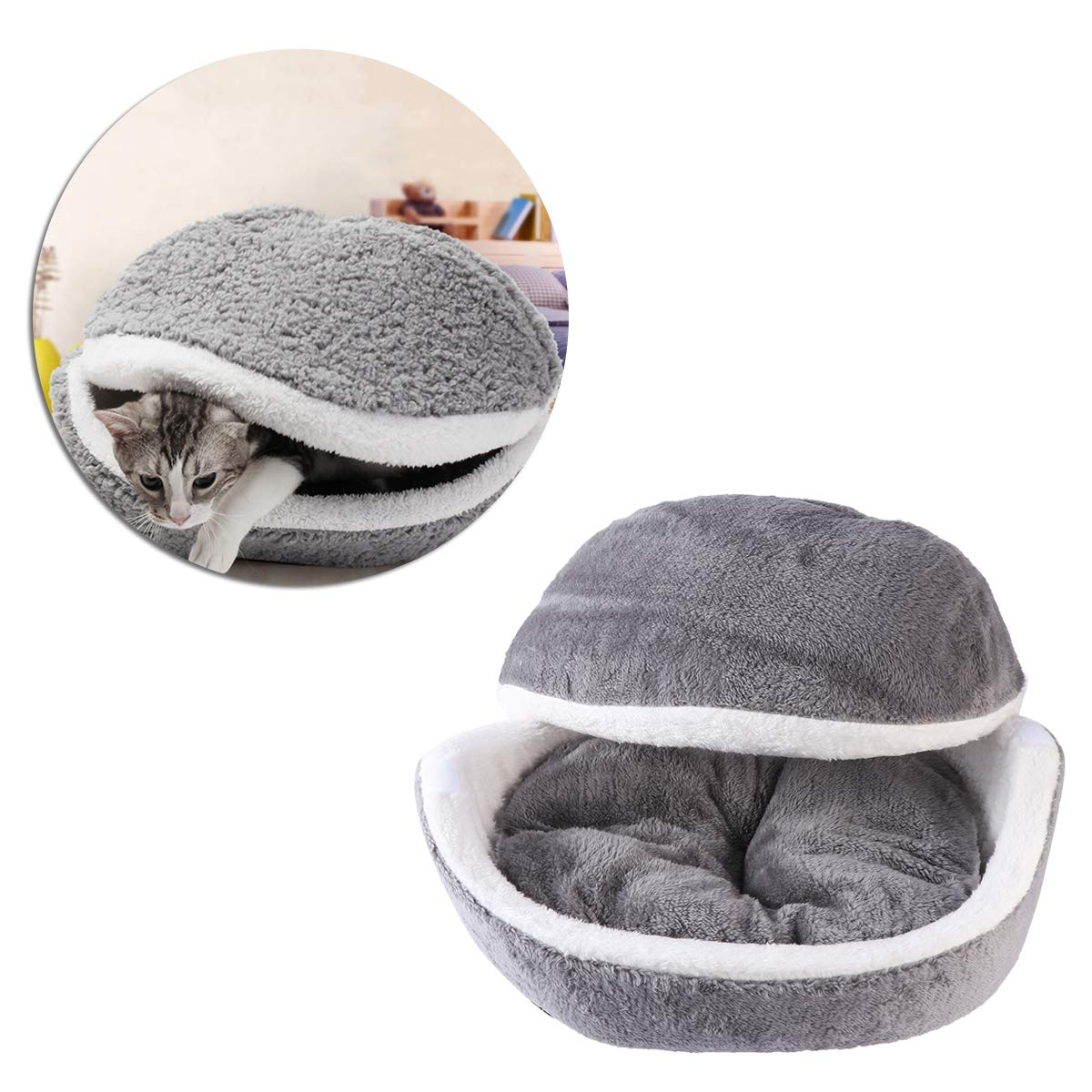 Cuccia morbida con cuscino caldo rimovibile per cagnolino o gatto UEETEK