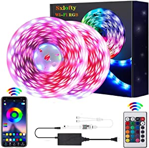LED Strip Lights,WiFi 32.8ft 300LEDs Waterproof Color Changing Rope Lights Works with Alexa, Google Home Smart Phone App Controlled Music Sync RGB Light Strips for Room, Kitchen, and Party with Bright