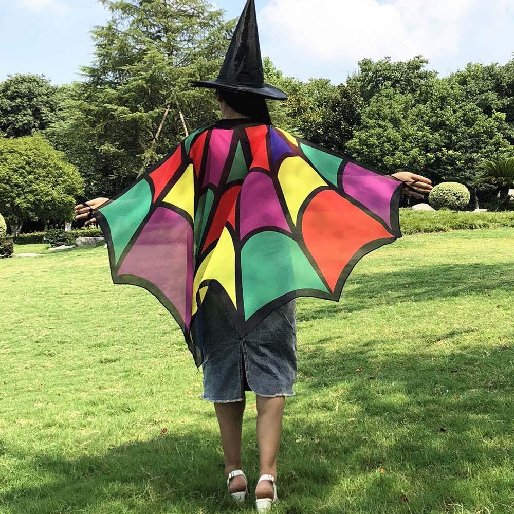 Pongfunsy Women Men Halloween Costume Butterfly Shawl Fairy Ladies Print Bat Shawl Nymph Pixie Costume Accessory