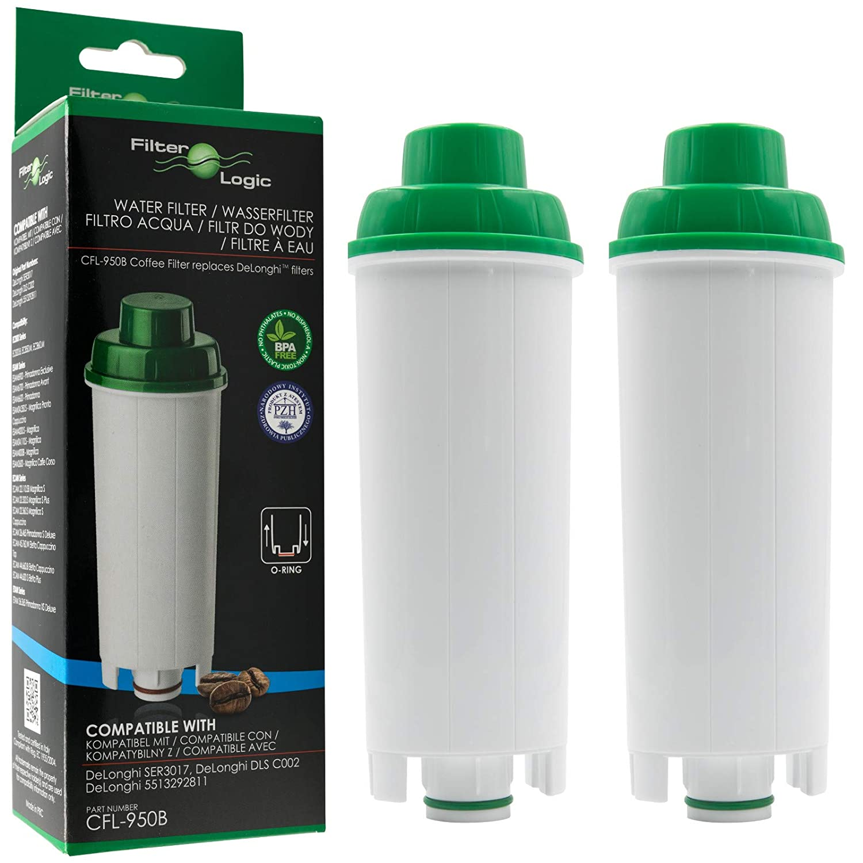 2 x FilterLogic CFL-950B - Filtro de agua para cafetera automática de DeLonghi reemplaza el cartucho DLS C002 / DLSC002 / SER 3017 / SER3017 / ...