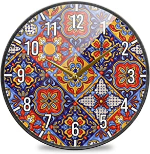 Blueangle Mexican Ceramic Tile Pattern Wall Clock for Living Room Bedroom Office Home Decorations (12 Inch)