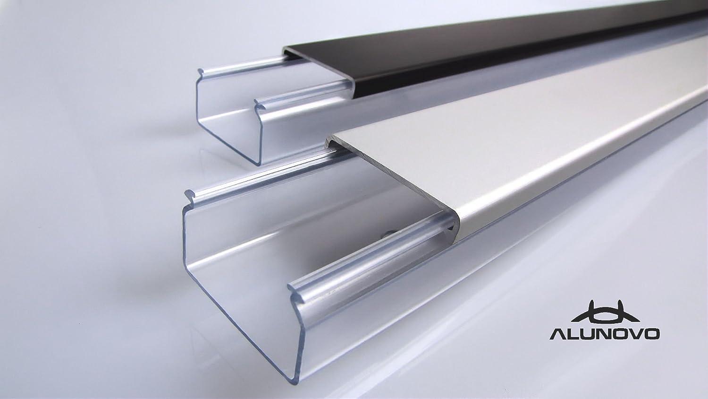 L/änge: 200cm TV Design Aluminium Kabelkanal Titanium anthrazit seidenmatt lackiert in verschiedenen L/ängen von ALUNOVO