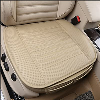 Sunny color 2pc Edge Wrapping Car Front Seat Cushion Cover Pad Mat for Auto Supplies Office Chair with PU Leather Bamboo Charcoal (Beige): Home & Kitchen