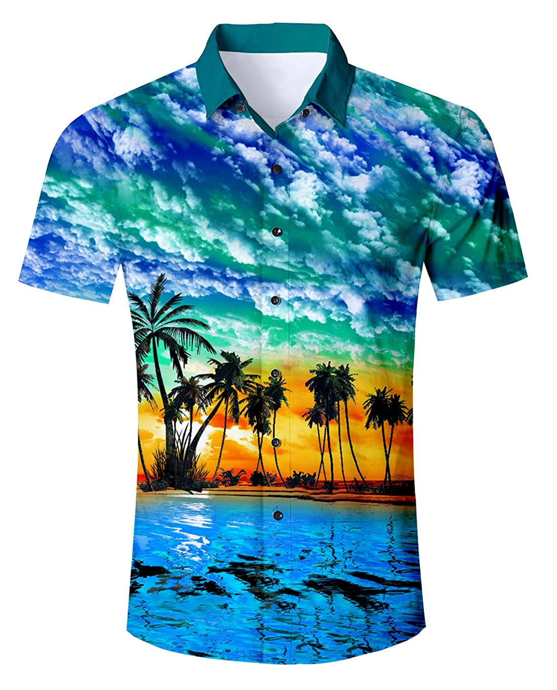 Uideazone Men Summer Button Down 3D Printed Aloha Shirt Casual Short Sleeve Tropical Beach Hawaiian Shirts