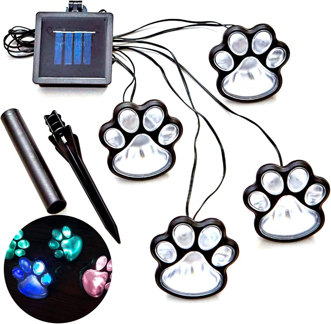 LED Paw Decor Solar Light, 4 Solar Dog Cat Animal Paw Print Lights Garden Outdoor LED Path Lamp for Garden Patio Yard Decor Walkway Color Multi-color color random