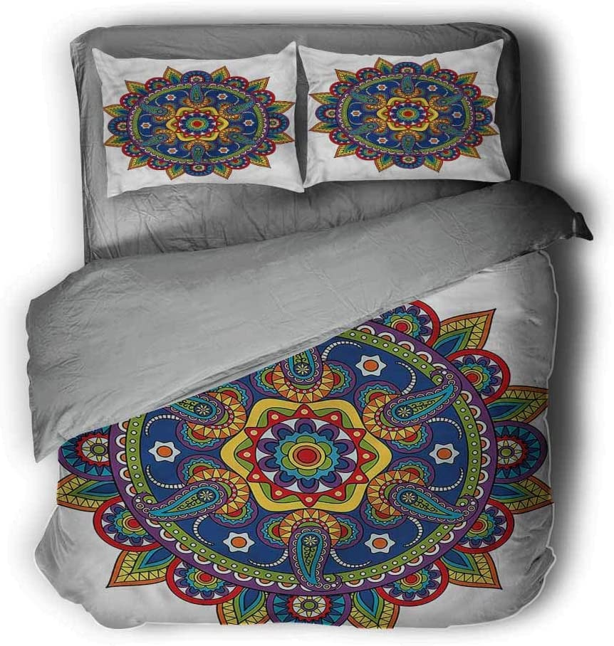 Soft and Breathable Full Luoiaax Mandala Hotel Luxury Bed Linen Paisley with Floral Motifs Polyester