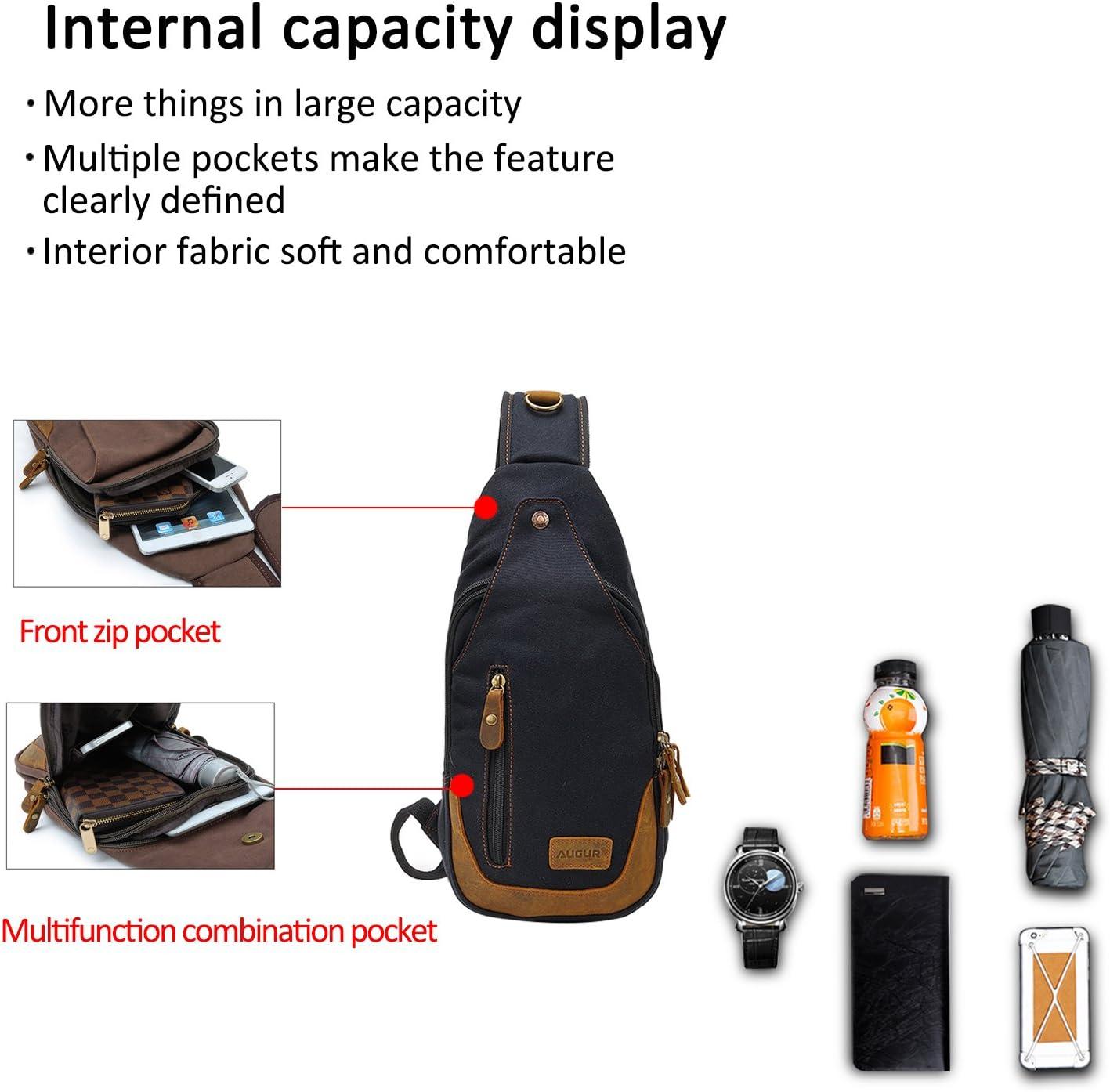 FANDARE Vintage Sling Bag Men//Women Chest Pack Shoulder Backpack Cross Body Bag Outdoor Sport Bag Travel Bag Canvas Brown