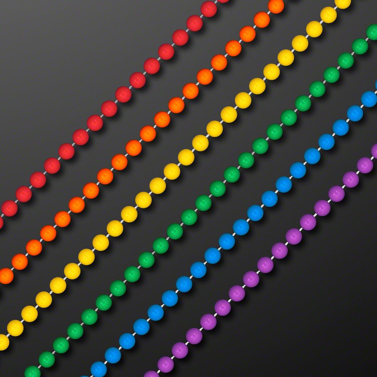 FlashingBlinkyLights Set of 144 7mm Round Assorted Rainbow Mardi Gras Beads