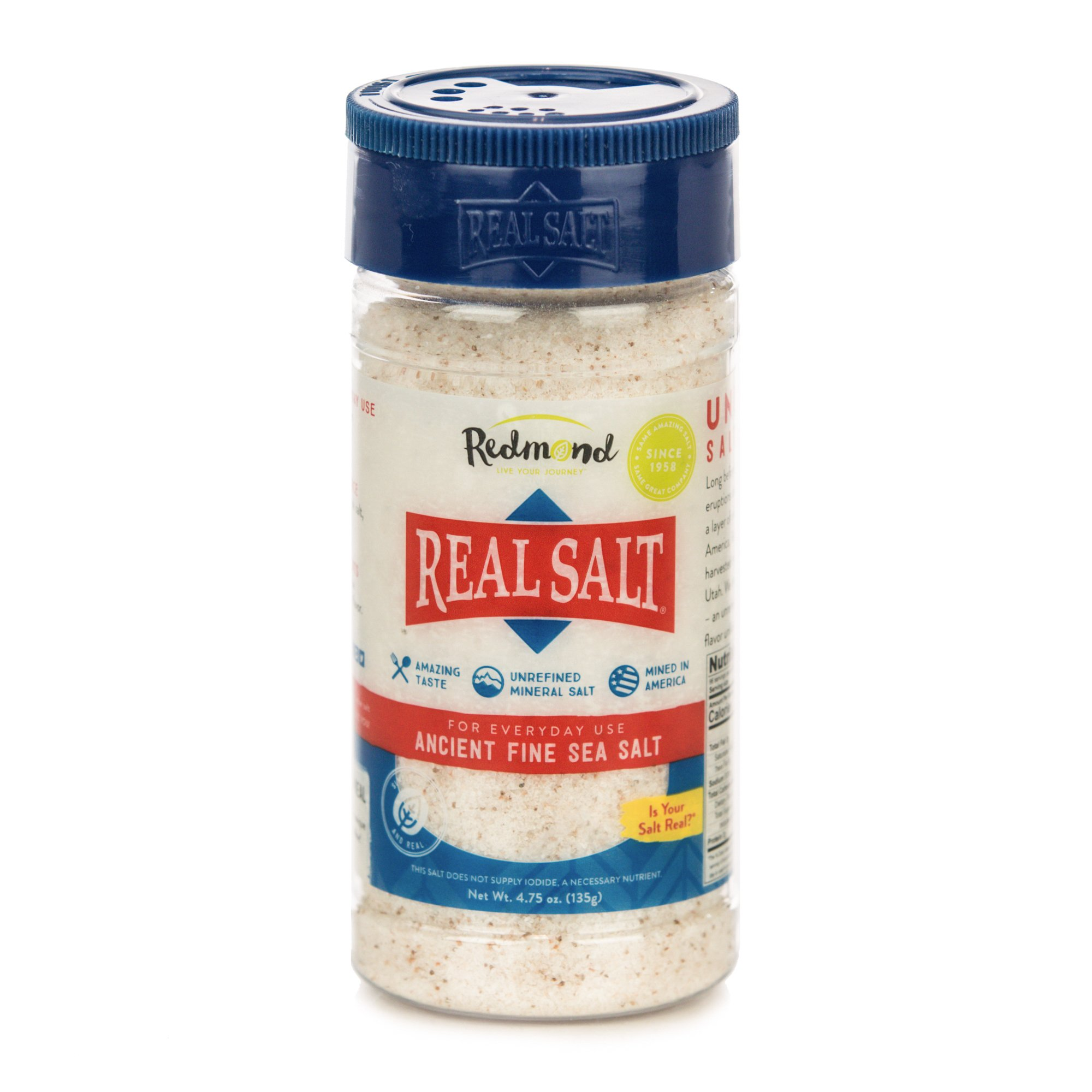 Redmond Real Sea Salt - Natural Unrefined Organic Gluten Free Fine, 4.75 Ounce Shaker (1 Pack)