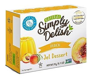 Simply Delish Natural Peach Jel Dessert - Sugar Free, Non GMO, Gluten Free, Fat Free, Lactose Free, Keto Friendly - 0.7 OZ (Pack of 6)
