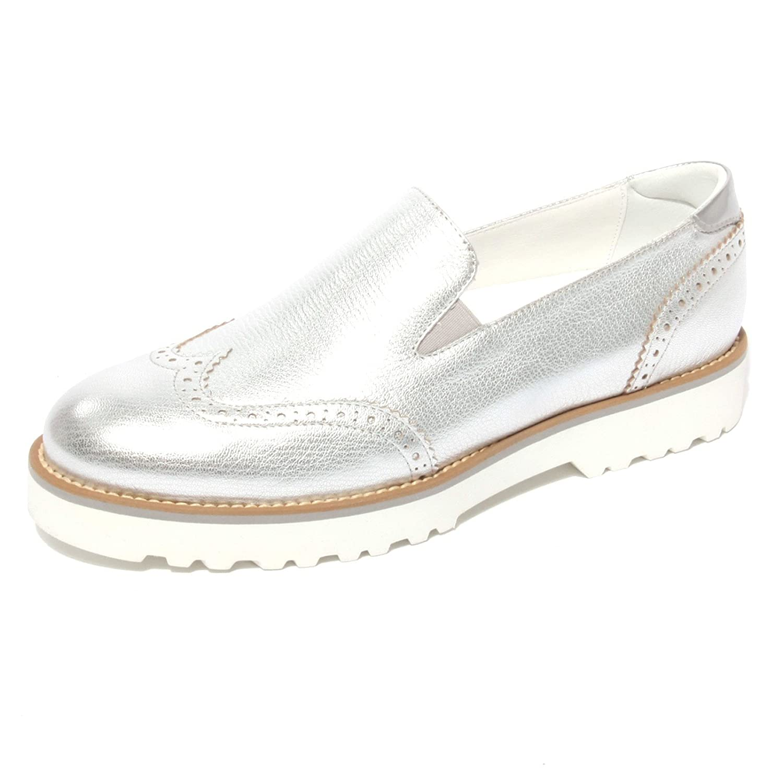 B0677 mocassino HOGAN ROUTE PANTOFOLA argento scarpa shoe donna loafer woman Argento
