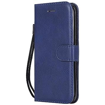 DENDICO Funda Galaxy S6 Edge Plus, Flip Libro Cuero Carcasa, Diseño Clásico Funda Plegable Cover para Samsung Galaxy S6 Edge Plus - Azul Marino