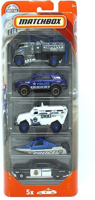 Matchbox 2018 MBX Rescue Police Swat Sheriff 5 Vehículo Pack – Incluye Barco: Amazon.es: Juguetes y juegos