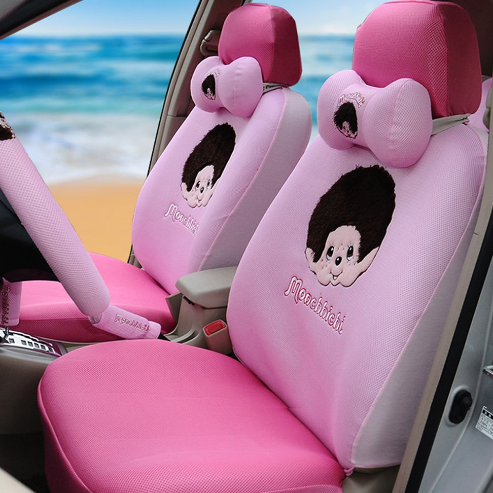 Lovely Cartoon Professional Car Seat Covers 18pcs Ice Silk Car Steering Wheel Cover Car Neck Pillows (pink)