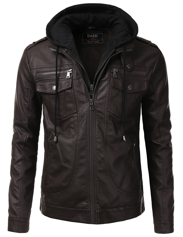 IDARBI Men's Premium PU Leather Motorcycle Bomber Jacket With Detachable Hood Brown L