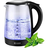 Electric Kettle, Habor 1.7L Glass Kettle, 1500W Fast Boiling Tea Kettel Hot Water Kettle with Auto Shutoff, BPA Free,Cordless Boiler with Blue LED Illumination