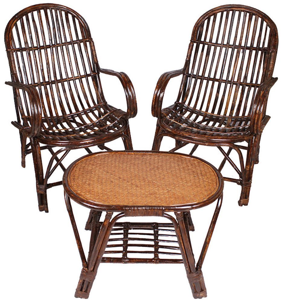 A/&E Brown Table and Chair Set made of Rattan /& Wicker