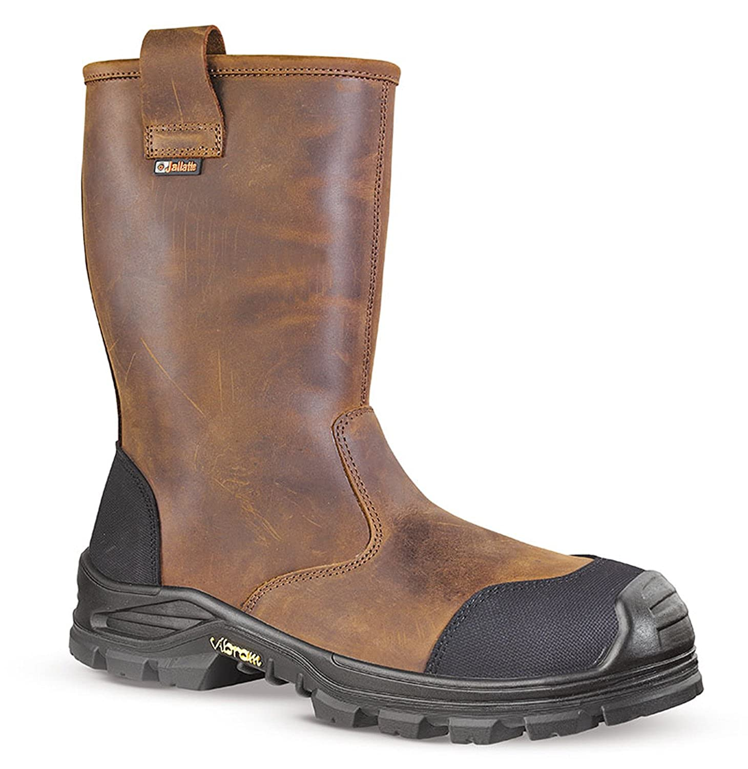 35c3ce68734 Jallatte Jalsalix Brown Greasy Leather Mens Vibram Safety S3 Toecap Misole  Rigger Boots