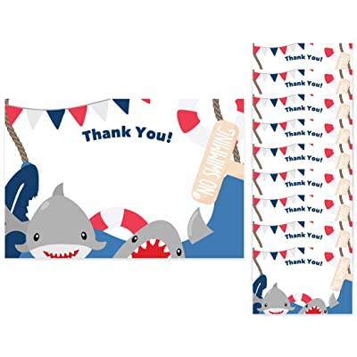 Shark Thank You Cards (10 Count) With Envelopes Bulk Birthday Party Bridal Blank Graduation Kids Children Boy Girl Baby Shower (10ct. Thank You): Toys & Games [5Bkhe1403765]