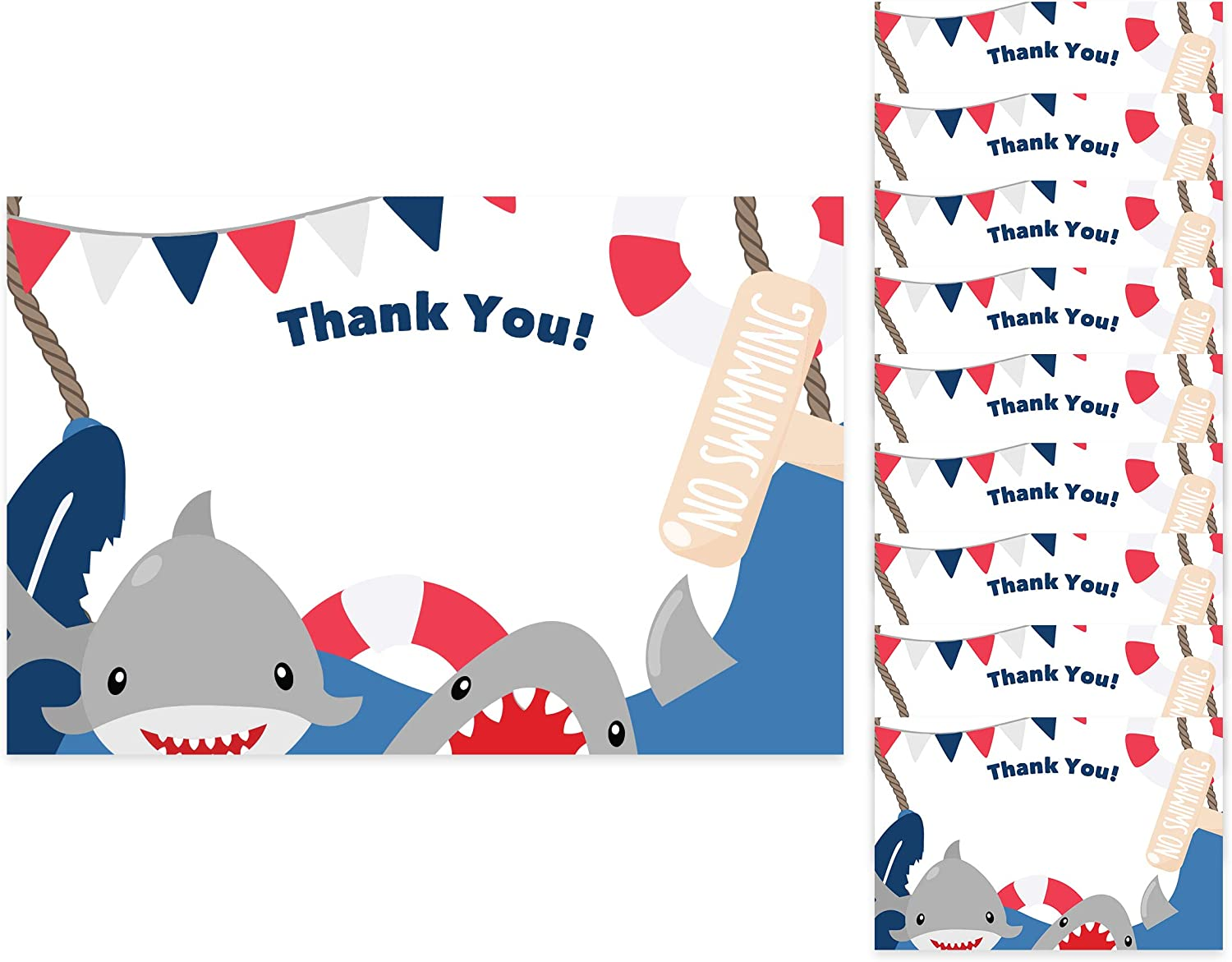 Shark Thank You Cards (10 Count) With Envelopes Bulk Birthday Party Bridal Blank Graduation Kids Children Boy Girl Baby Shower (10ct. Thank You)