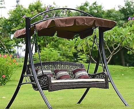 ZDYLM-Y Columpio Balancín Jardín 3 plazas de Metal Hamaca Columpio para la terraza con toldo Desmontable, para Patio Terraza: Amazon.es: Deportes y aire libre
