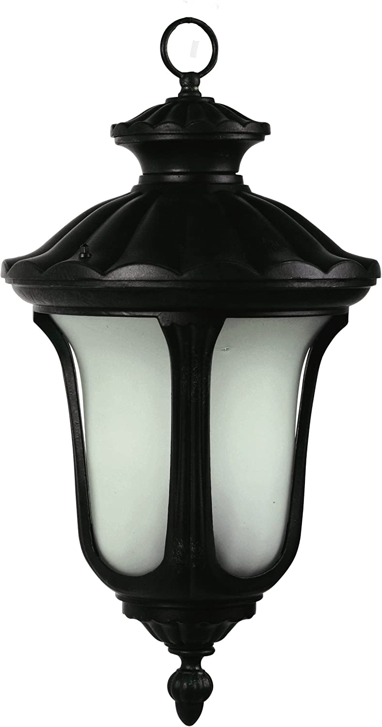 Yosemite Home Decor FL5314HBL Tori Collection 13.75-Inch Fluorescent Hanging Exterior Light Black Frame with Frosted Glass