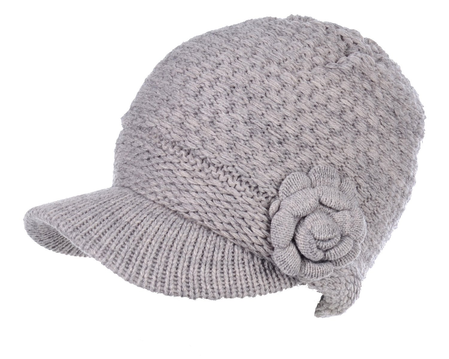 BYOS Womens Winter Chic Cable Knitted Newsboy Cabbie Cap Beret Beanie Hat with Visor, Warm Plush Fleece Lined, Many Styles (Waffle Knit W/Flower - Beige)