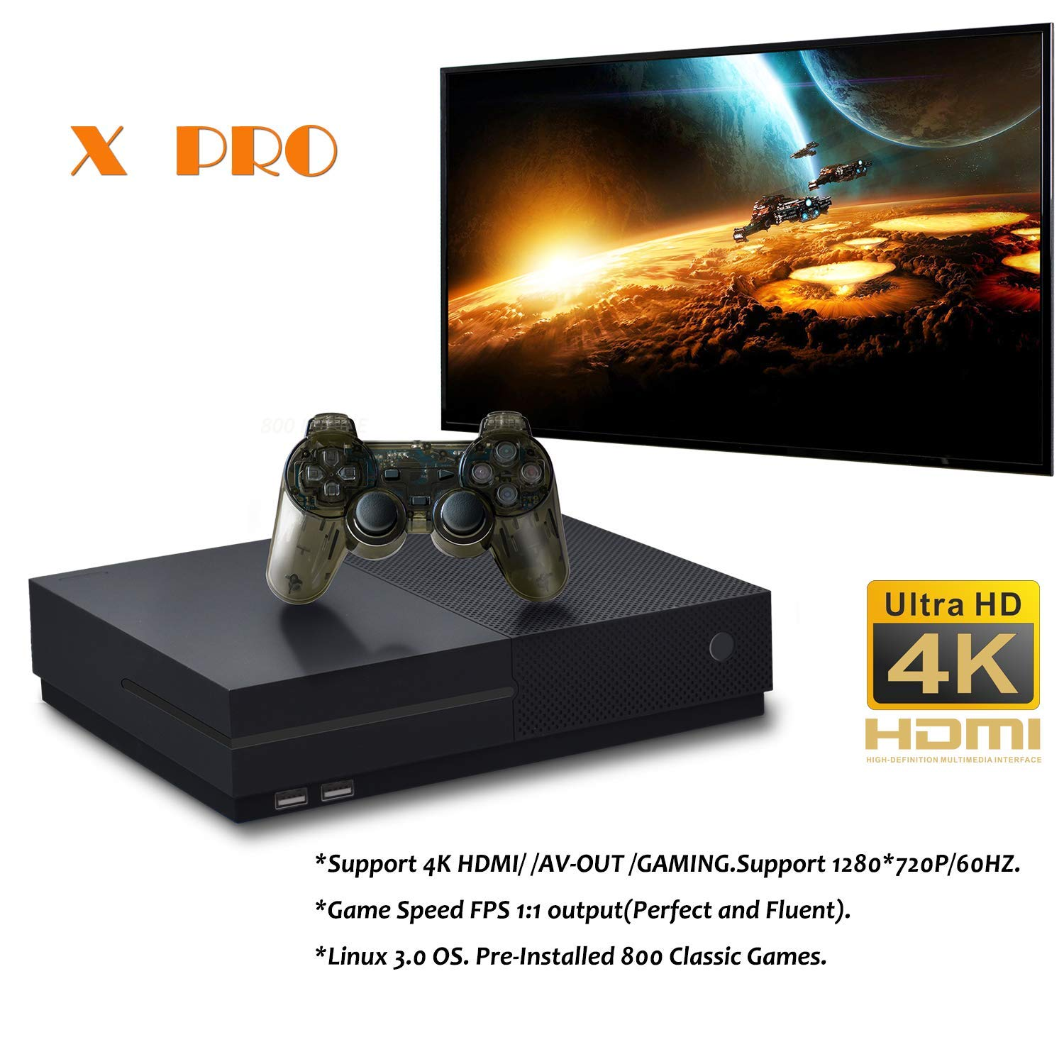 BAORUITENG Retro Game Console, HD Video Game Console 843 Classic Games 4K HDMI TV Output with 2PCS Joystick for a Great Gifi for Game Player (Black) by BAORUITENG (Image #2)