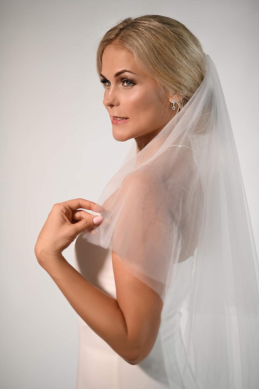 Unbekannt Schleier Softt/üll Brautschleier 2 Lagen mit Kamm 2-lagig Hochzeit Braut NEU Wei/ß Ivory