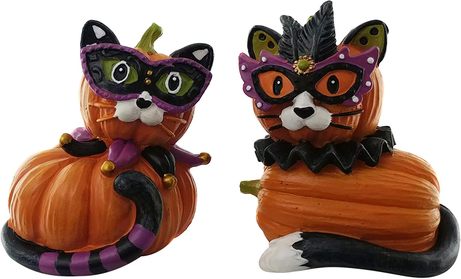 Cat Queen and Joker Party Pumpkin Halloween Cat Decorations | Collectible Cat Pumpkin Shelf Decorations | (2 Pack) for Kitchen, Home and Office Décor