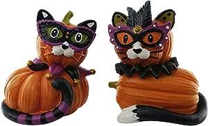 Cat Queen and Joker Party Pumpkin Halloween Cat Decorations | Collectible Cat Pumpkin Shelf Decorations | (2 Pack) for Kitchen, Home and Office Décor