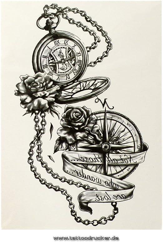 Brújula Reloj XL Tattoo en negro – Fake temporäres una vez Cuerpo ...