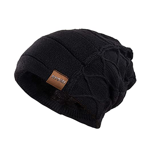 RYOMI Beanie Hat for Men and Women Fleece Lined Winter Warm Hats Knit  Slouchy Thick Skull 7f34d8e60e5