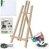 Artina® - Set de pintura para niños London - Caballete de mesa (pino), pintura acrílica, pinceles y lienzo