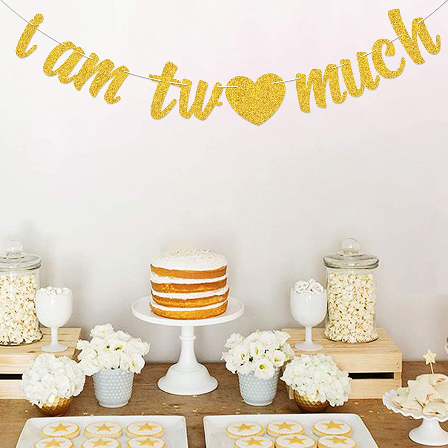 Purp Pie I Am Two Much Banner Love Baby 2nd Birthday Decoration Gold Glitter Happy Party Supplies