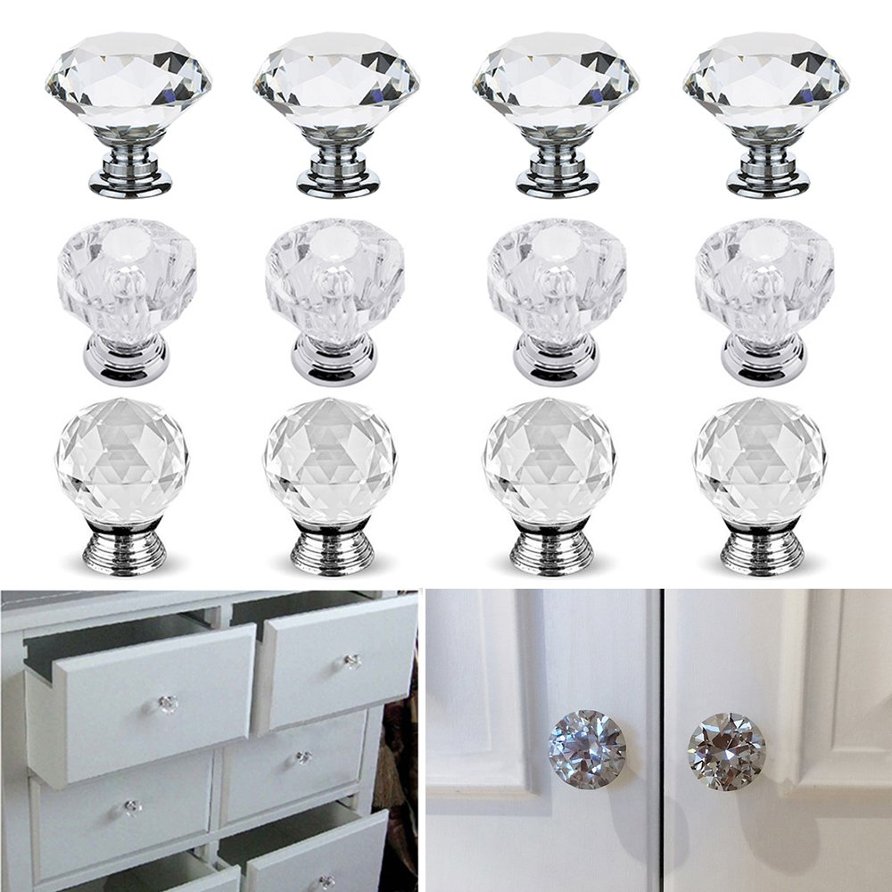 Newsoul 12Pcs Clear Crystal Glass Door Knob Cupboard Drawer Cabinet Kitchen Handles NewSoul1us
