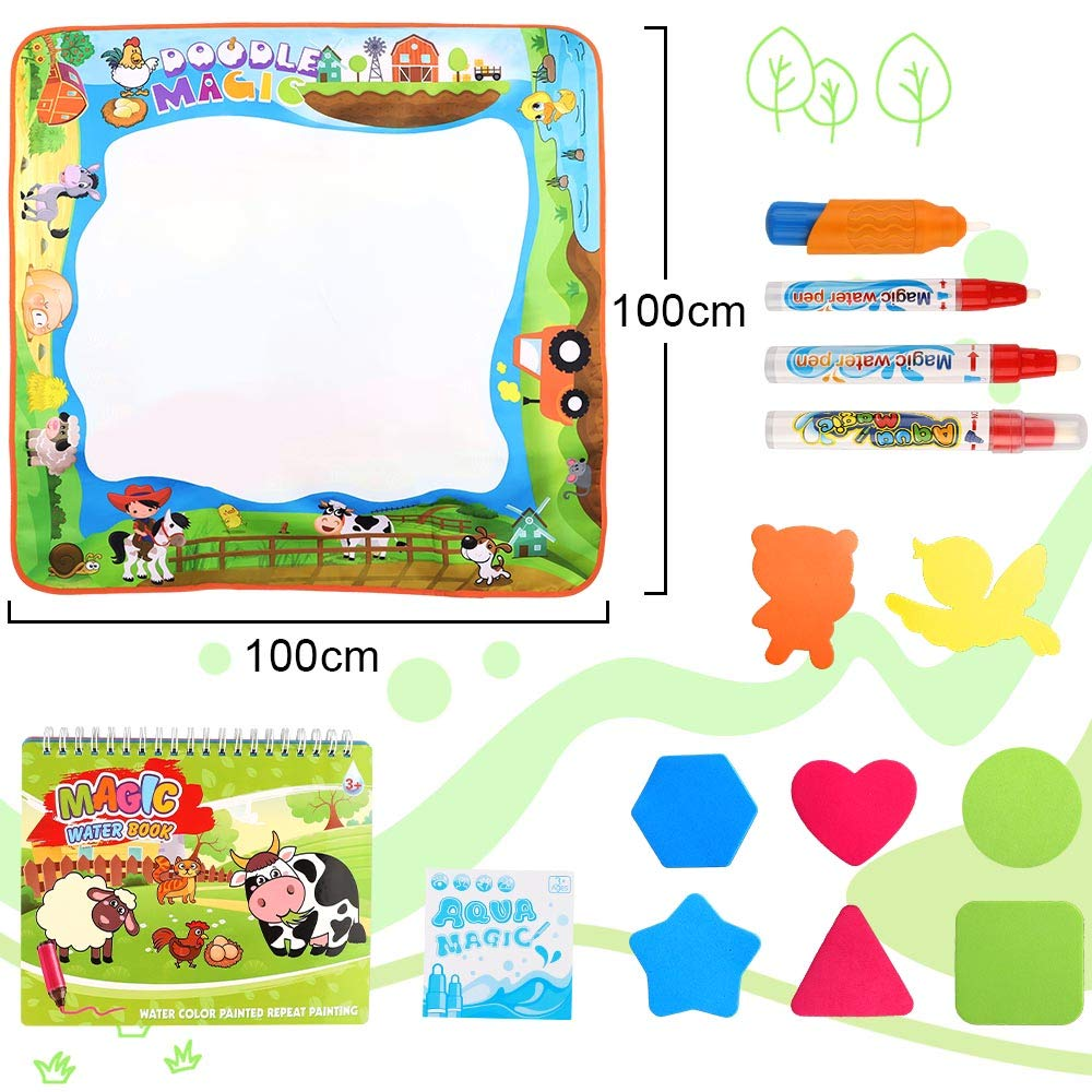 No Mess Aqua Magic Painting Educational Toys Xmas Gift for Age 2,3,4,5,6 Toddlers Boys Girls Habbi Large Water Drawing Mat 40 x 40 Contain with Water Drawing Book