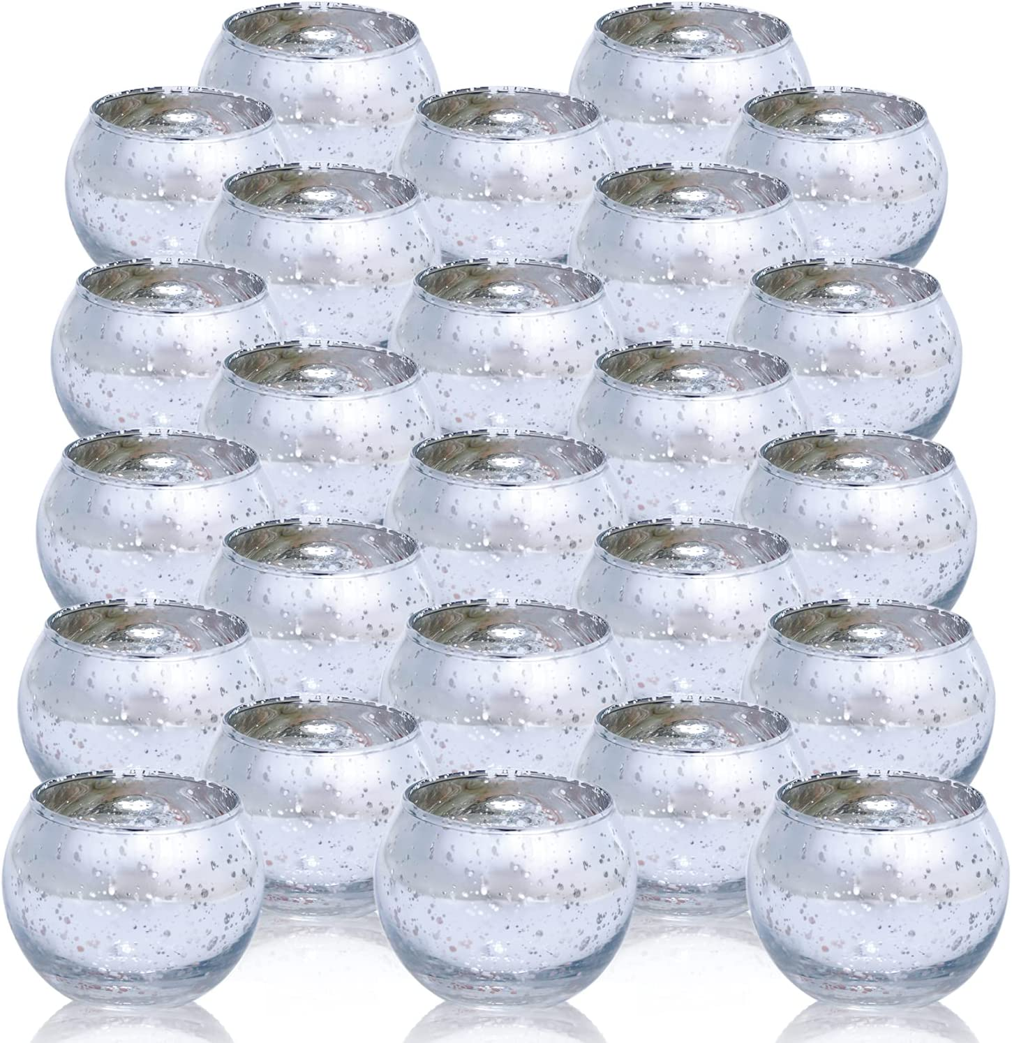 Silver Votive Candle Holder - Set of 48 Wedding Centerpieces for Table, Mercury Glass Tealight Candle Holders Bulk for Birthday  Party  Home Decoration