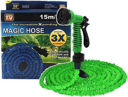 Magic Hose Tubo mágico elástico para jardín, bomba estenisibile hasta 3 veces su longitud inicial 15 m o 45 m: Amazon.es: Jardín