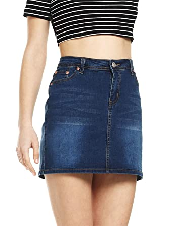 d3322720ff DittyandVibe Florboom Womens Summer Elastic Straight Tight Denim Skirt with  Pockets Navy Blue M