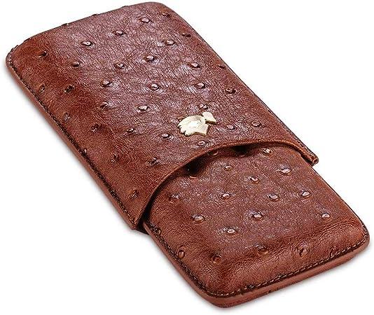 AMITD - Funda de Piel para Puros y Puros para humidor (portátil, con 3 Cuentas), Color marrón: Amazon.es: Hogar