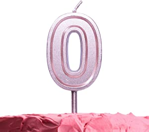 GET FRESH Number 0 Birthday Candle – Rose Gold Number Zero Candle on Stick – Elegant Pink Number Candles for Birthday Wedding Anniversary – Perfect Zero Birthday Cake Candle – Pink 0 Candle