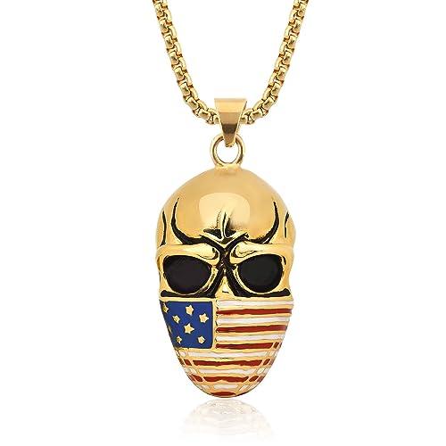 f2e6ad6bb8e3 Dalaran collar calavera colgante de acero inoxidable con nosotros bandera  máscara Cool hombre collares  Amazon.es  Joyería