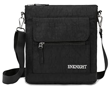 ENKNIGHT Nylon Crossbody Purse Bag for Women Travel Shoulder handbags Black 4b0ba13dcc