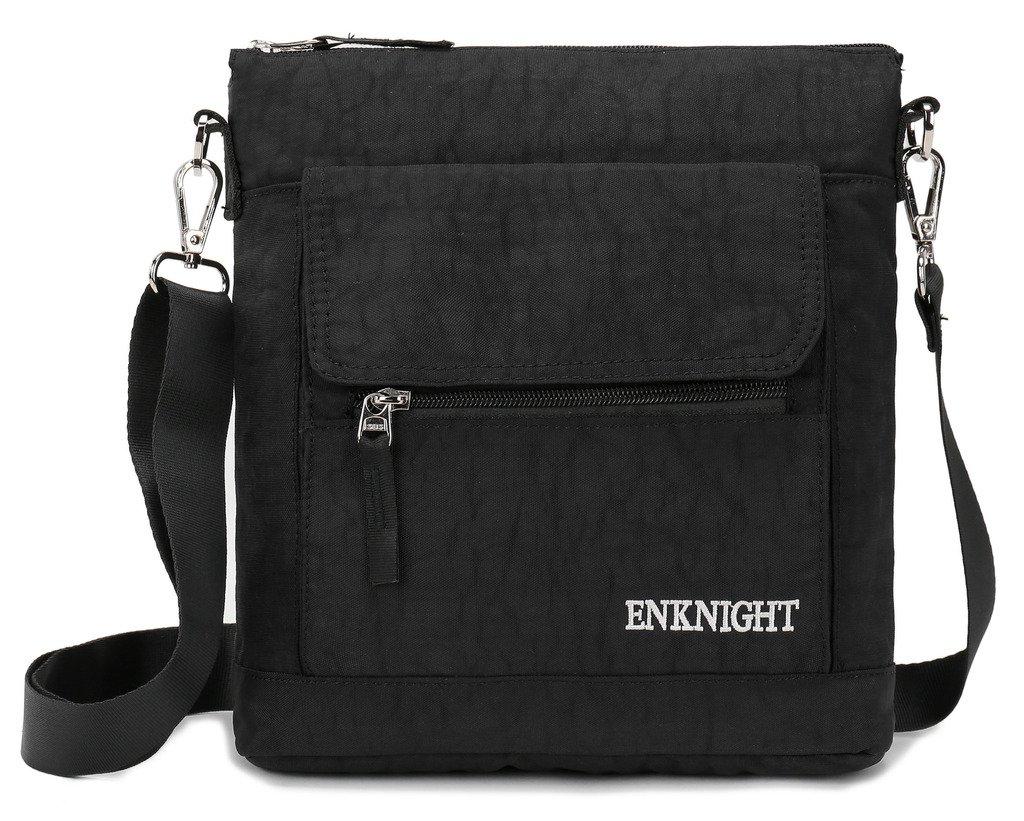 ENKNIGHT Nylon Crossbody Purse Bag for Women Travel Shoulder handbags Black