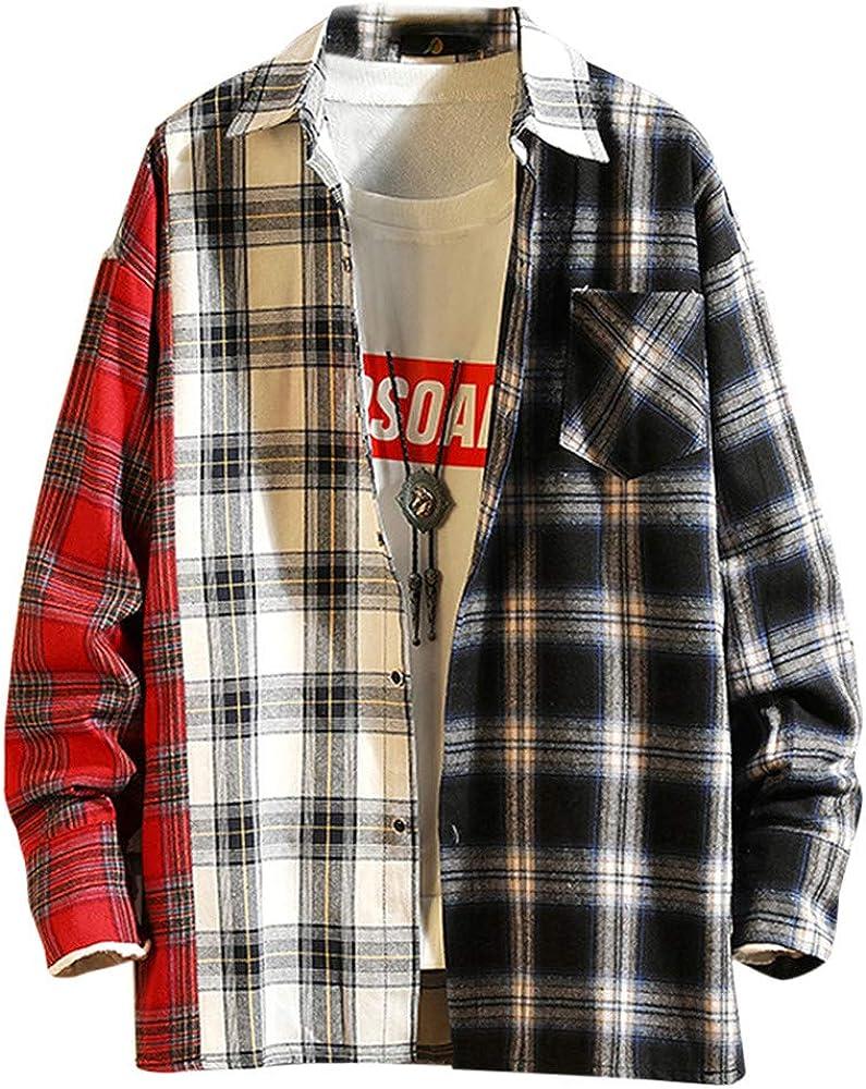 SoonerQuicker Camisa de Hombre Camisa de Manga Larga con Estampado de Cuadros a Cuadros de Moda Casual para Hombre Blusa Superior(Rojo L): Amazon.es: Ropa y accesorios