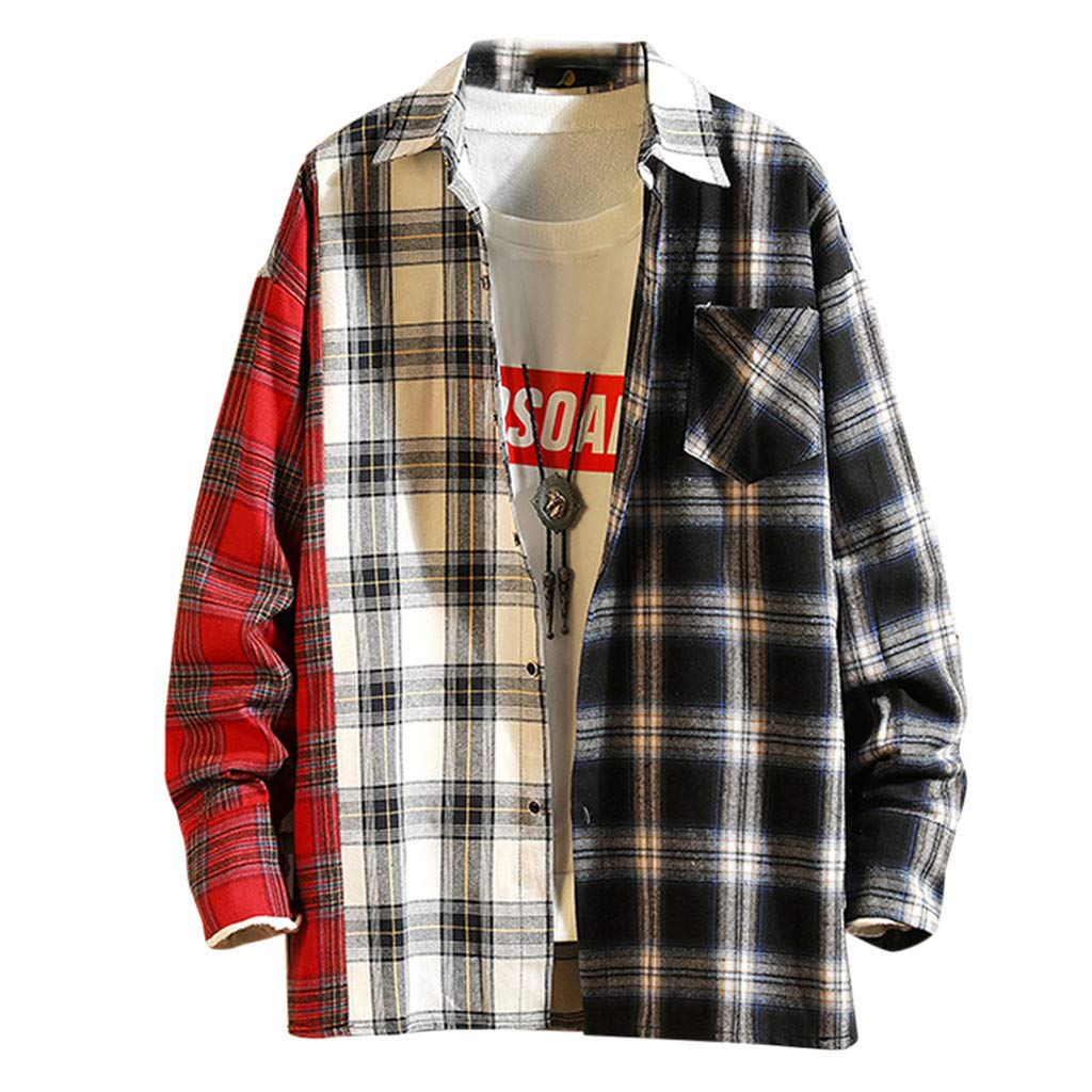 Uqiangy Mens Plaid Printing Patchwork Lapel Long Sleeve Gingham Shirt Jacket Pocket m-5xl