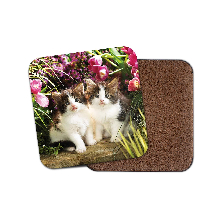regalo para mam/á regalo de t/ía #8893 Hermoso posavasos para gatos con dise/ño de flores de jard/ín