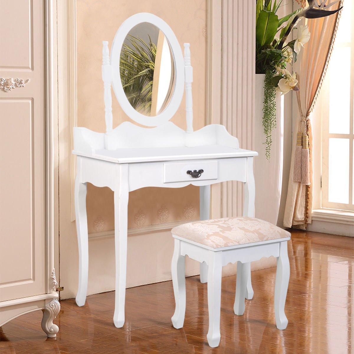 Amazon.com: Giantex White Bathroom Vanity Jewelry Makeup Dressing Table Set  W/Stool Mirror Wood Desk (1 Drawer): Kitchen U0026 Dining